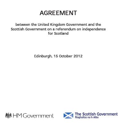 Agreement between Westminster and Holyrood Parliaments